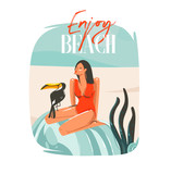 Hand drawn vector abstract cartoon summer time graphic illustrations template sign background with girl,relaxing on beach scene,tropical bird and Enjoy Beach typography isolated on white background - 212630655