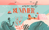 Hand drawn vector abstract cartoon summer time graphic illustrations art background with ocean beach landscape,pink sunset,camping tent and girl on beach scene and summer never ends typography - 212630862