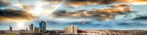 Fotobehang Las Vegas Las Vegas, Nevada. Aerial view at sunset, city panorama