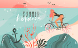 Hand drawn vector abstract cartoon summer time graphic illustrations template background with ocean beach landscape,sunset,beauty girl on bicycle and Summer Holidays typography quote text - 212632626