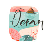 Hand drawn vector abstract cartoon summer time graphic illustrations template background logo design with ocean beach landscape,pink sunset and beach cabin house with Ocean typography text - 212632834