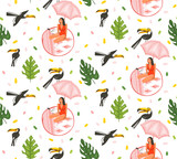 Hand drawn vector abstract cartoon summer time graphic illustrations artistic seamless pattern with toucan birds and beauty girl under pink bohemian umbrella on beach mat isolated on white background - 212633814