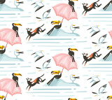 Hand drawn vector abstract cartoon summer time graphic illustrations artistic seamless pattern with beach gulland toucan birds,umbrella and dogs on beach vacation isolated on white background - 212633829