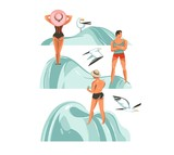 Hand drawn vector abstract graphic cartoon summer time collection flat illustrations set with boys and girls characters on the beach with beach stones and flying gulls isolated on white background - 212634210