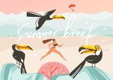 Hand drawn vector abstract cartoon summer time graphic illustrations art template background with ocean beach landscape,pink sunset,toucan birds and running beauty girl with Summer break typography - 212634252