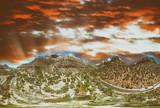 Zion National Park panoramic aerial view at sunset, Utah - 212634288