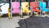 Colourful empty chairs - 212634686