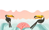 Hand drawn vector abstract cartoon summer time graphic illustrations art with beach sunset scene and tropical toucan birds with copy space place for your text isolated on white background - 212635034