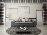 Mock up a stylish living room with a fashionable comfortable sofa and modern interier. - 212636036
