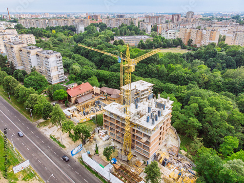 Foto Murales aerial view of construction site. high-rise building development