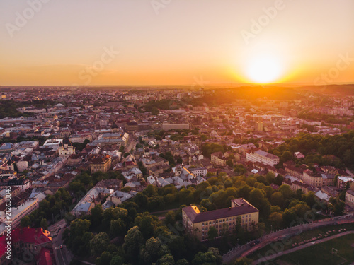 aerial view of old european city on sunset - 212638843