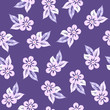 Vector seamless floral pattern with light abstract strokes of decorative flowers, leaves on an ultra violet background - 212639200