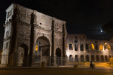 Arch monument in front of coliseum at moonlight - 212641653