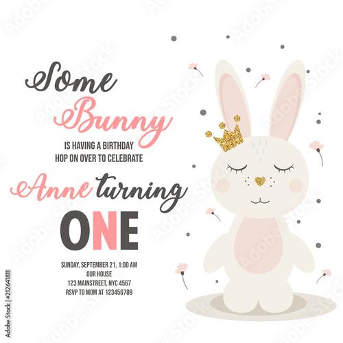 Zaproszenie na urodziny z króliczkiem