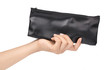 hand holding black leather wallet isolated on white background