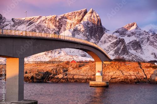 Bridge on the Lofoten islands, Norway. Beautiful natural landscape during sunrise. - 212650429