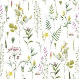 Watercolor floral vector pattern - 212651022