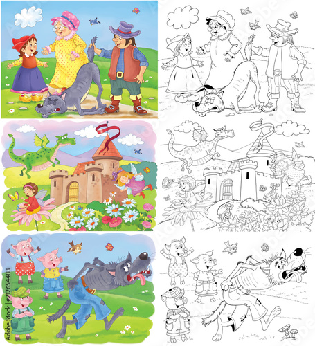 Little Red Riding Hood and others. Fairy tale. Coloring book. Coloring page. Cute and funny cartoon characters - 212654488