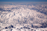 Snowy peaks on mountain landscape. Earth surface. Environment protection and ecology. Wanderlust and travel. Our Earth is the future of our generation