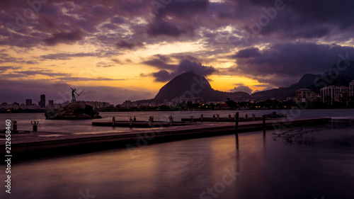 Pier at the city lake of Rio de Janeiro at sunset