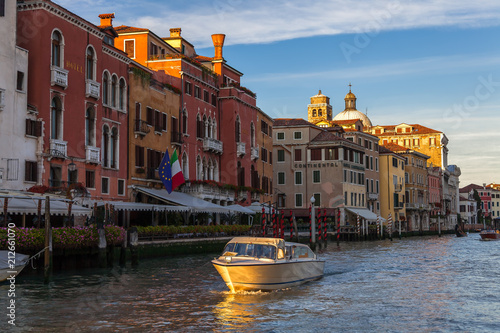 Yellow boat in the  the Grand Canal, Veice Italy - 212661070