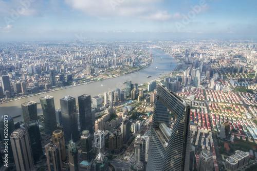 Foto Spatwand Shanghai Aeriel view of Shanghai city and Huangpu river, Shanghai China