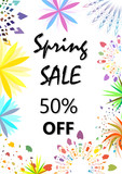 Spring sale brochure flyer cover, 50% off. - 212663447