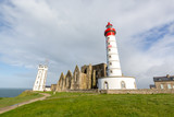 Lighthouse and ruin of monastery, Pointe de Saint Mathieu, Brittany (Bretagne), France - 212666262