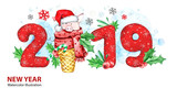 2019 Happy New Year banner. Cute pig with Santa hat in waffle cone and numbers. Greeting watercolor illustration. Symbol of winter holidays. Zodiac sign. Perfect for calendar and celebration card. - 212670409
