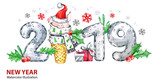 2019 Happy New Year banner. Cute pig with Santa hat in waffle cone and numbers. Greeting watercolor illustration. Symbol of winter holidays. Zodiac sign. Perfect for calendar and celebration card. - 212670423