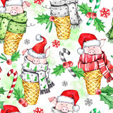 Watercolor seamless pattern with cute pigs with Santa hat in waffle cones. New Year. Celebration illustration. Merry Christmas. Can be use in winter holidays design, posters, invitations, card. - 212670446