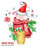 2019 Happy New Year illustration. Christmas. Cute pig with Santa hat in waffle cone. Greeting watercolor dessert. Symbol of winter holidays. Zodiac sign. Perfect for calendar and celebration card. - 212670470