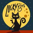 Lucky the 13th black cat and full moon cartoon vector illustration