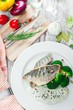 Plate of Cod Fillet with Broccoli - 212686282