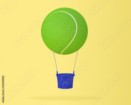 Creative idea layout of tennis ball big hot air balloon on pastel yellow background. minimal idea design sports and recreation concept. happy holiday flying balloons. - 212690885