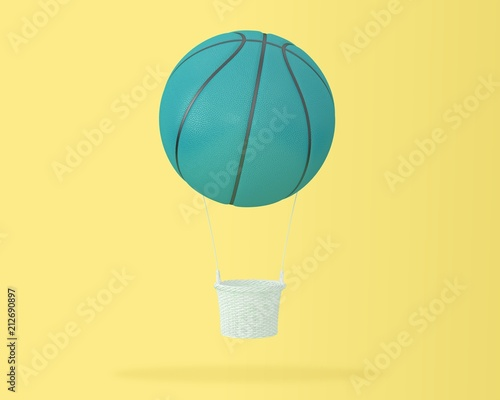 Creative idea layout of blue basketball big hot air balloon on pastel yellow background. minimal idea design sports and recreation concept. happy holiday flying balloons. - 212690897