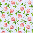 Seamless pattern with peonies. Watercolor hand drawn illustration
