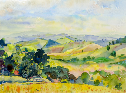 Fotobehang Meloen Watercolor landscape painting of mountain range with cottage.