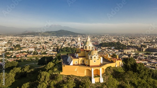 Beautiful aerial view of Puebla Mexico and its church - 212697644