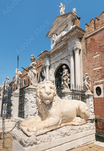 Fototapeta ancient Greek lion statue at the Venetian Arsenal, Venice, Italy
