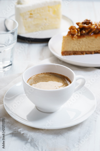 Poster cup of coffee with cake