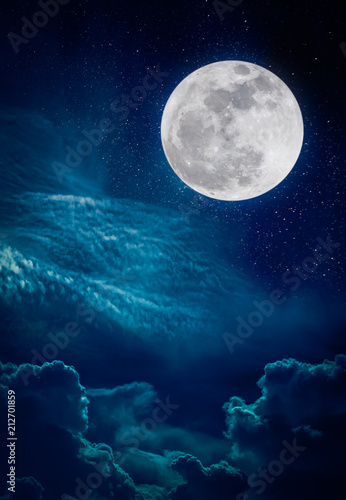 Fotobehang Nachtblauw Landscape of night sky and bright full moon with many stars.