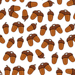 Seamless pattern from brown acorn on a white background. Hand drawing. Vector illustration.