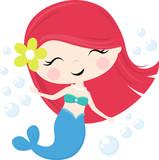 cute little mermaid illustration isolated on white, design for baby girl and children - 212703877