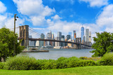 View Brooklyn Bridge from Empire Fulton Ferry State Park. New York, USA. - 212705464