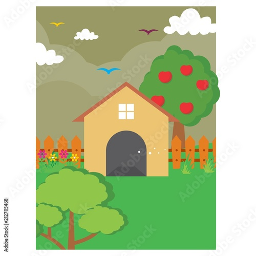 Aluminium Wit back yard home house apple tree scenery landscape background