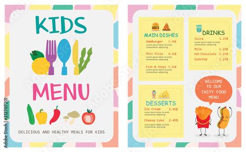 Cute colorful kids meal menu vector template - 212707201