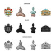 National, symbol, drawing, and other web icon in cartoon,black,monochrome style. Denmark, attributes, style, icons in set collection.