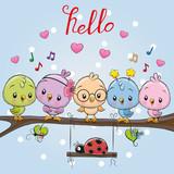 Five cute birds and ladybug