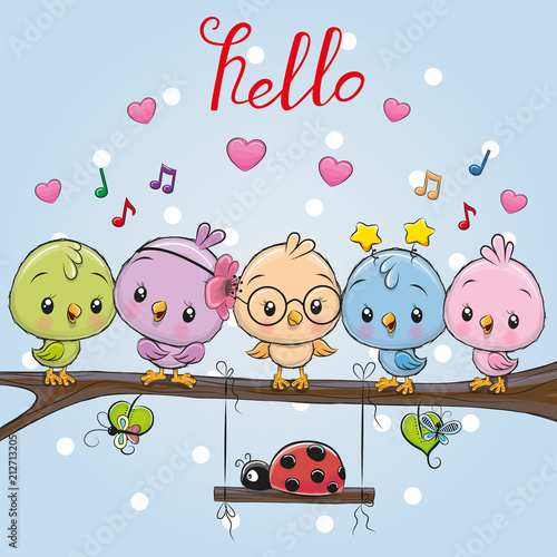 Five cute birds and ladybug - 212713205